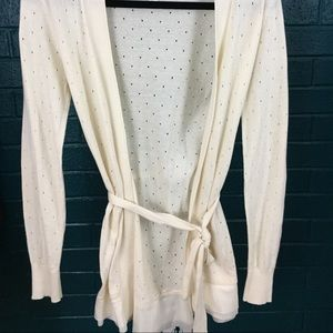 Lauren Conrad White/Cream Tie Perforated Cardigan